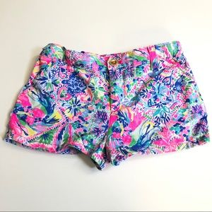 Lilly Pulitzer Shorts Tropical Floral Pink Blue